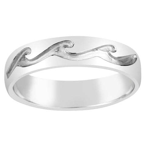 Gents Sterling Silver Textured Wave Design Ring Q209