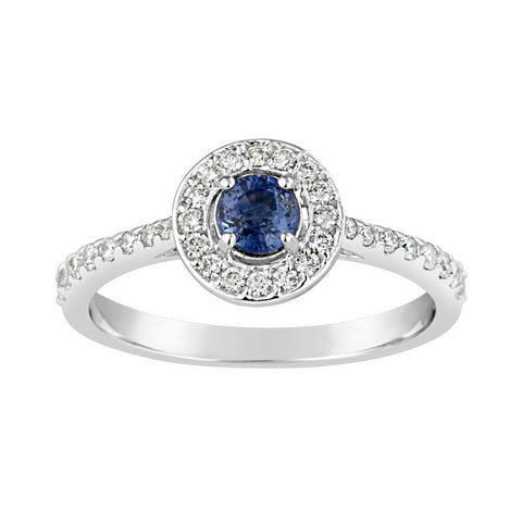 Ladies Australian Blue Sapphire & Diamond Halo Ring A1396