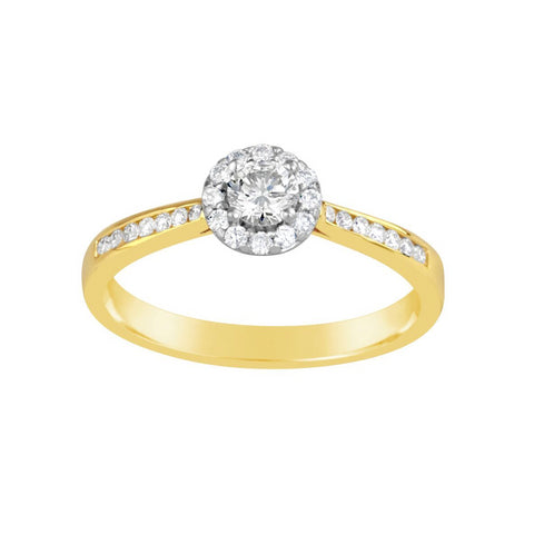 Ladies Diamond Halo Ring with Shoulder Diamonds E1316.9Y