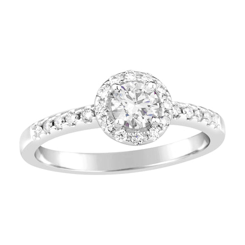 Ladies Diamond Halo Ring with Shoulder Diamonds E893.9W