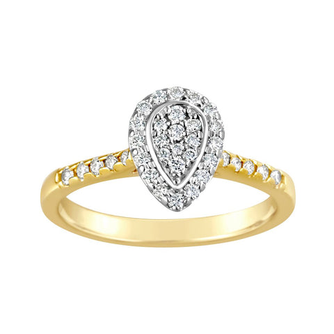 Ladies Diamond Halo Ring with Shoulder Diamonds Pear Shape E1354.9Y