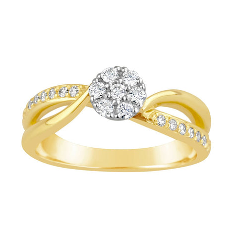 Ladies Fancy Diamond Cross Over Ring E1353.9Y