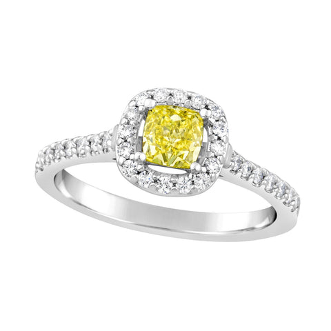 Ladies Yellow Diamond Ring with Halo & Shoulder Diamonds E1205.18W