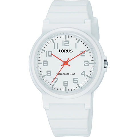 Lorus Youth White Silicone Strap 100m Water Resistance Watch RRX41GX-9