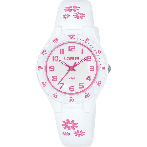 Lorus Youth White Silicone Strap With Pink Flowers 100m Water Resistance Watch RRX59GX-9