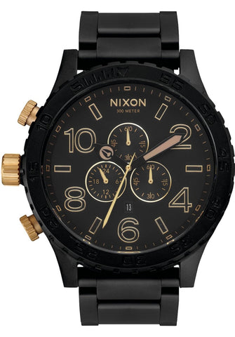 NIXON 51-30 Chrono Matte Black / Gold Pushers Gents Watch