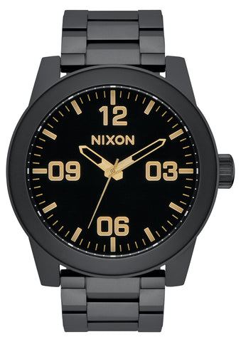 NIXON Corporal Sterling Silver Matte Black & Gold Watch A346-1041-00