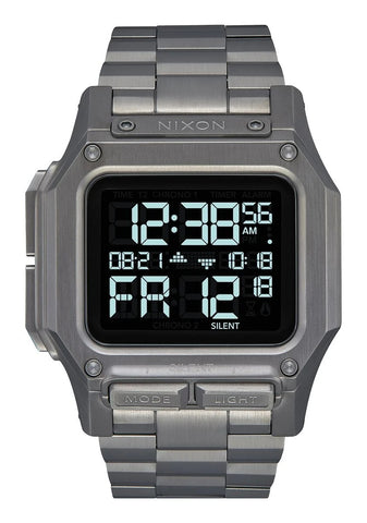 NIXON Regulus Digital Gunmetal Stainless Steel Watch A1268-131-00