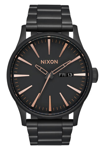 NIXON Sentry SS All Black & Rose Gold Watch A356-957-00