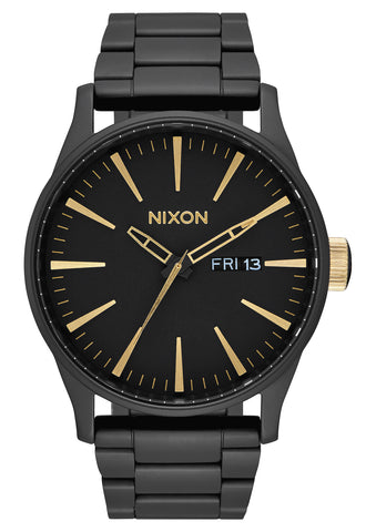 NIXON Sentry Stainless Steel Matte Black with Black Face / Gold Highlights Watch A356-1041-00