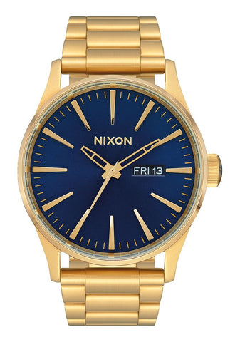 NIXON Sentry Stainless Steel All Gold w Blue Sunray Dial Watch A356-3334-00