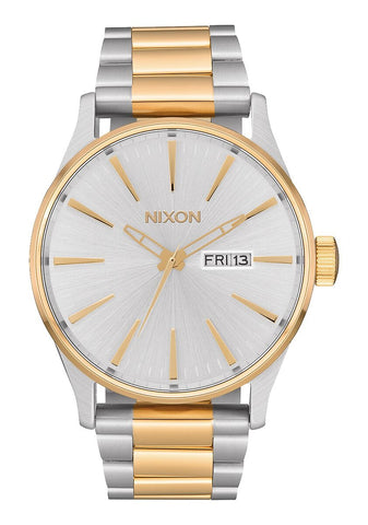 NIXON Sentry Stainless Steel Silver & Gold Watch A356-1921-00