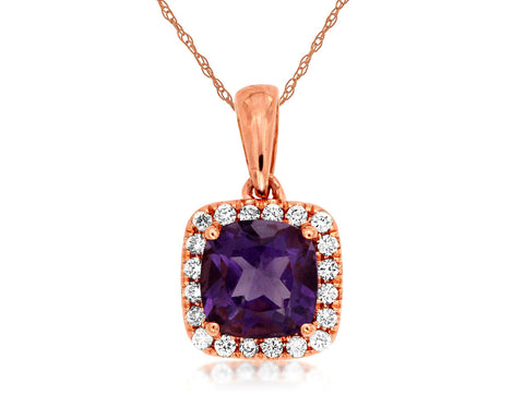 Royal Jewellery 14K Rose Gold Diamond & Amethyst 0.85ct Pendant