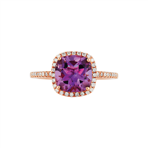 Royal Jewellery 14K Rose Gold Diamond & Amethyst 1.90ct Ring