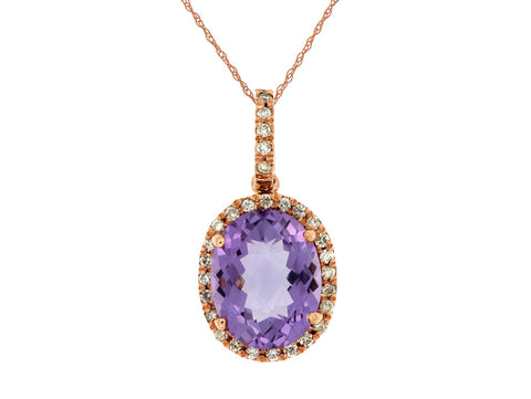 Royal Jewellery 14K Rose Gold Diamond & Amethyst 2.70ct Pendant