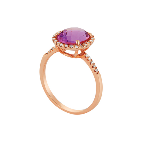 Royal Jewellery 14K Rose Gold Diamond & Amethyst 3.00ct Ring