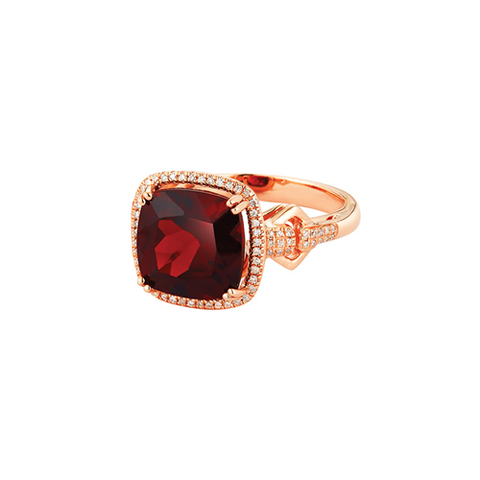 Royal Jewellery 14K Rose Gold Diamond & Garnet 4.65ct Ring