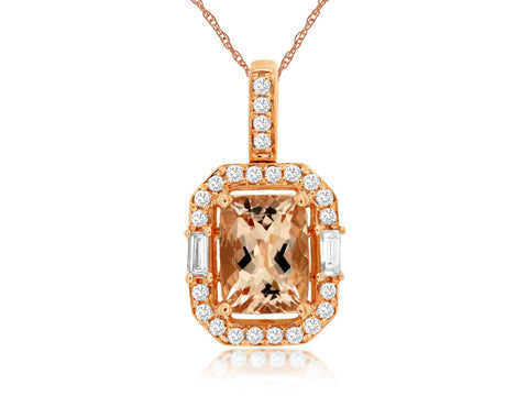 Royal Jewellery 14K Rose Gold Diamond & Morganite 1.16ct Pendant