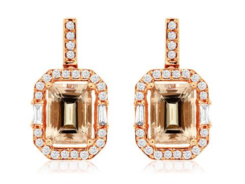 Royal Jewellery 14K Rose Gold Diamond & Morganite 1.90ct Earrings
