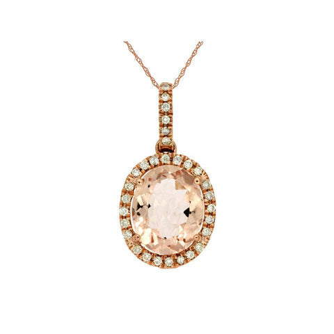 Royal Jewellery 14K Rose Gold Diamond & Morganite 2.60ct  Pendant