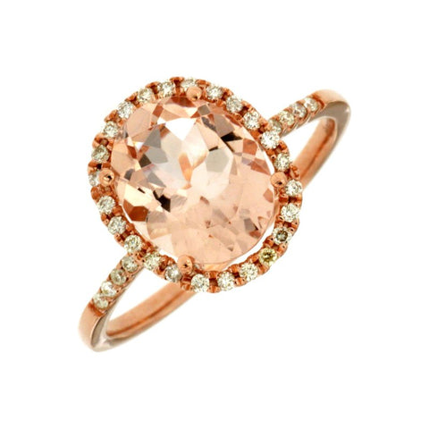 Royal Jewellery 14K Rose Gold Diamond & Morganite 2.60ct Ring