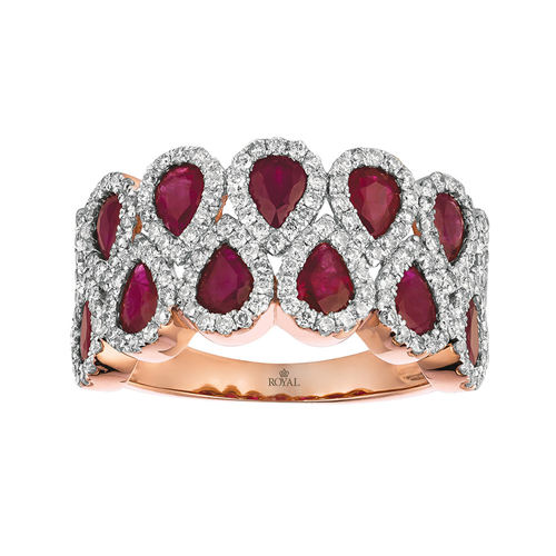 Royal Jewellery 14K Rose Gold Diamond & Ruby 2.25ct Ring
