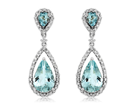 Royal Jewellery 14K White Gold Diamond & Aquamarine 2.50ct Earrings