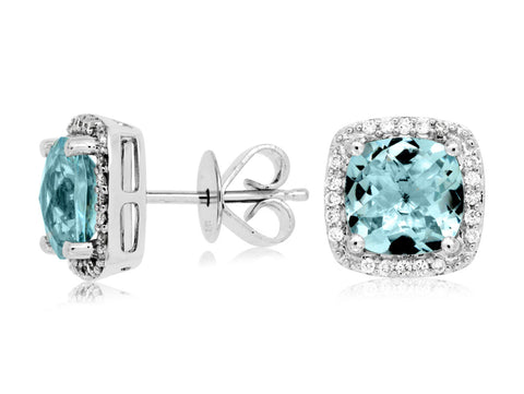 Royal Jewellery 14K White Gold Diamond & Aquamarine 2.70ct Earrings