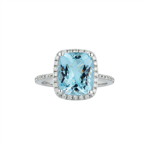 Royal Jewellery 14K White Gold Diamond & Aquamarine 3.65ct Ring