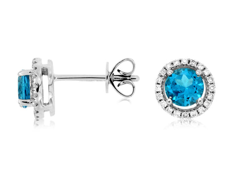 Royal Jewellery 14K White Gold Diamond & Blue Topaz 1.16ct Stud Earrings