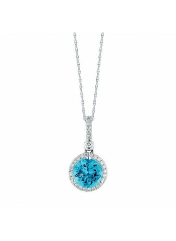Royal Jewellery 14K White Gold Diamond & Blue Topaz 1.50ct Pendant