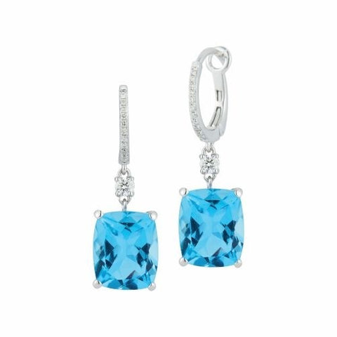 Royal Jewellery 14K White Gold Diamond & Blue Topaz 9.25ct Earrings