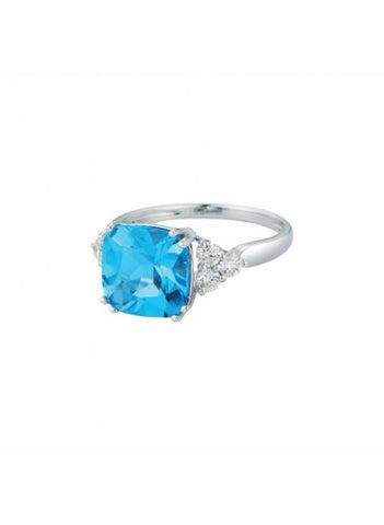 Royal Jewellery 14K White Gold Diamond & Blue Topaz 5.00ct Ring