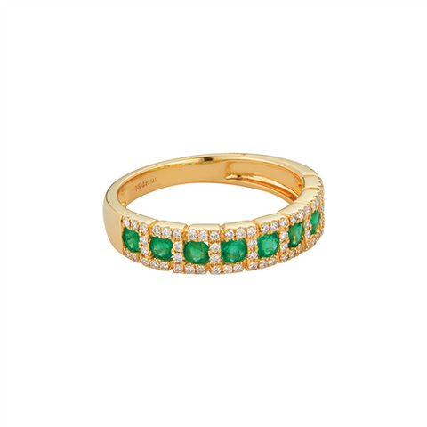 Royal Jewellery 14K Yellow Gold Diamond & Emerald 0.52ct Ring