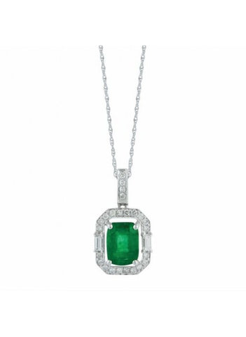 Royal Jewellery 14K White Gold Diamond & Emerald 1.60ct Pendant