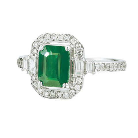 Royal Jewellery 14K White Gold Diamond & Emerald 1.60ct Ring