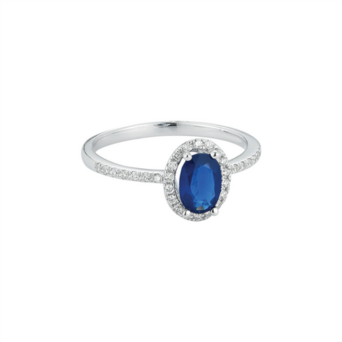 Royal Jewellery 14K White Gold Diamond & Sapphire 1.00ct Ring