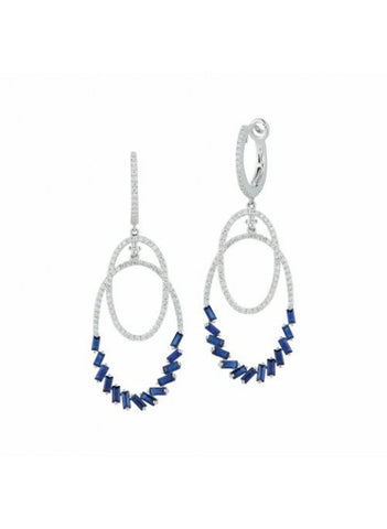 Royal Jewellery 14K White Gold Diamond & Sapphire 1.25ct Earrings