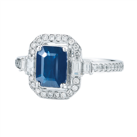 Royal Jewellery 14K White Gold Diamond & Sapphire 1.60ct Ring