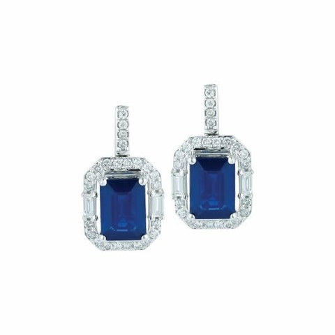 Royal Jewellery 14K White Gold Diamond & Sapphire 2.20ct Earrings