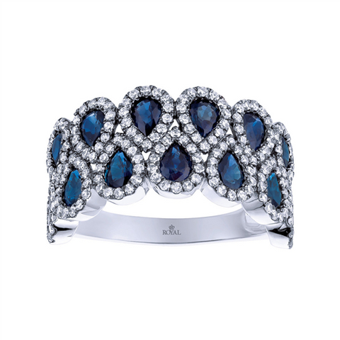 Royal Jewellery 14K White Gold Diamond & Sapphire 2.65ct Ring