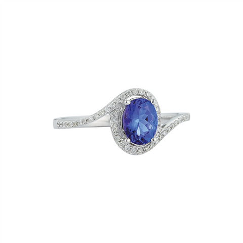 Royal Jewellery 14K White Gold Diamond & Oval Tanzanite 0.84ct Ring