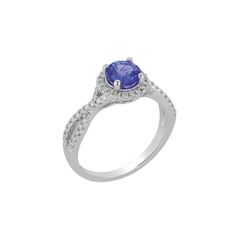 Royal Jewellery 14K White Gold Diamond & Round Tanzanite 1.00ct Ring