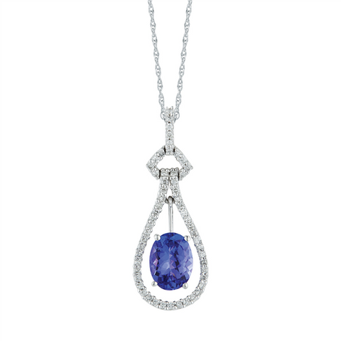 Royal Jewellery 14K White Gold Diamond & Tanzanite 1.30ct Pendant