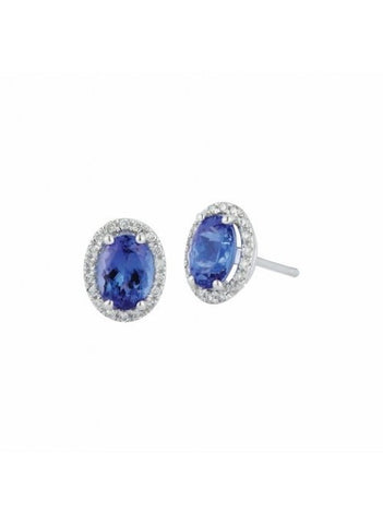 Royal Jewellery 14K White Gold Diamond & Tanzanite 1.68ct Earrings