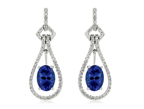 Royal Jewellery 14K White Gold Diamond & Tanzanite 1.70ct Earrings