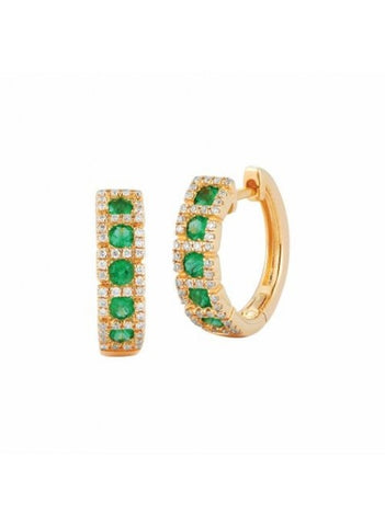 Royal Jewellery 14K Yellow Gold Diamond & Emerald 0.48ct Earrings