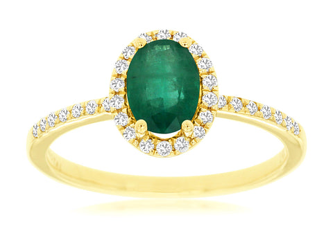 Royal Jewellery 14K Yellow Gold Diamond & Emerald 0.70ct Ring