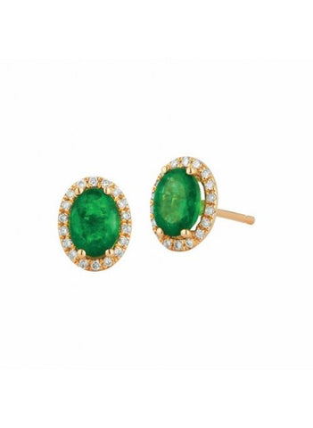 Royal Jewellery 14K Yellow Gold Diamond & Emerald 1.40ct Earrings