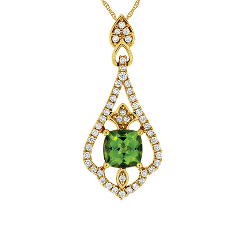 Royal Jewellery 14K Yellow Gold Diamond & Peridot 1.00ct Pendant